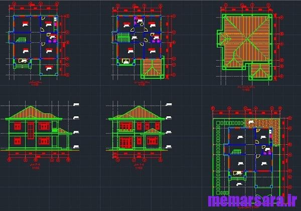 نقشه خانه ویلایی دوبلکس چهار خوابه