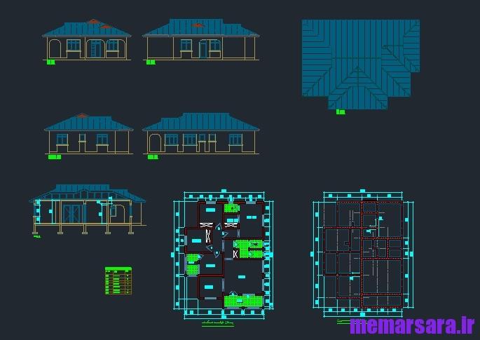 نقشه خانه ویلایی سه خوابه