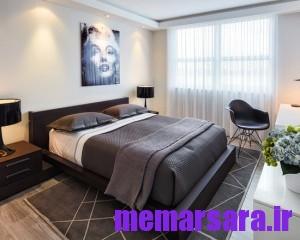 اتاق خواب سفید و خاکستری رنگ