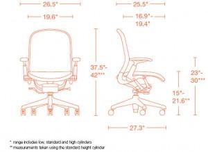 اندازه و ابعاد صندلی