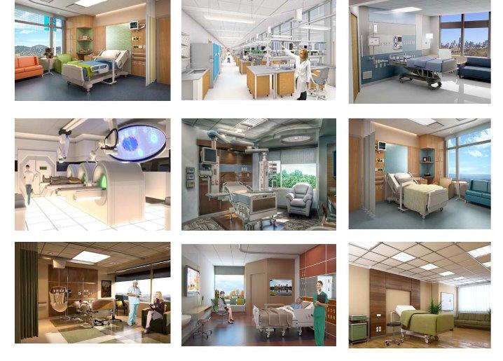 رندر بیمارستان 3d