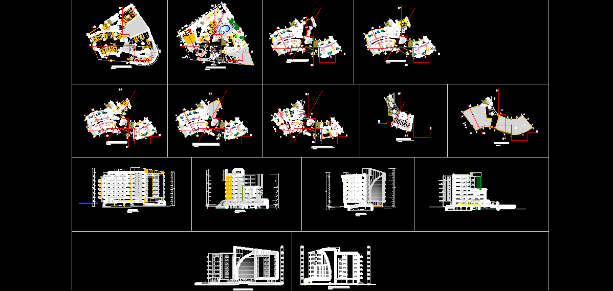 دانلود نقشه های معماری هتل 4 ستاره
