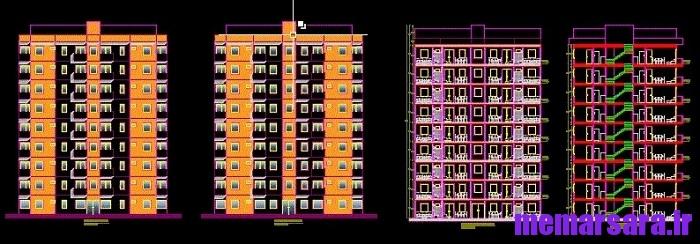 نقشه اتوکد آپارتمان 8 طبقه