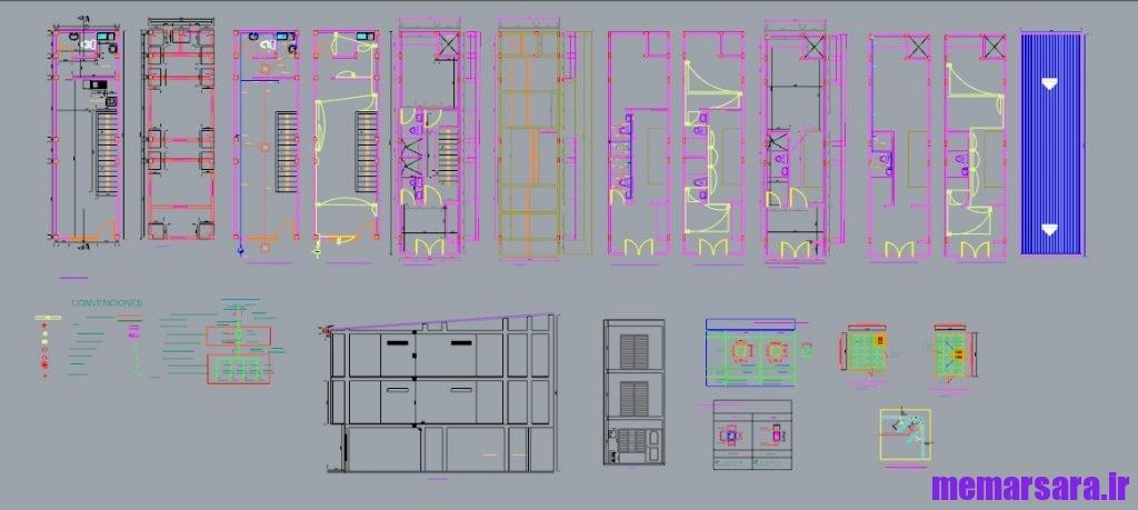 دانلود نقشه معماری ویلای تریبلکس