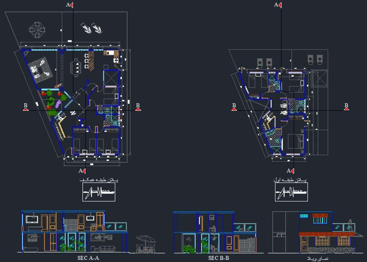 دانلود نقشه ویلایی دوبلکس ( پروژه ویلا )